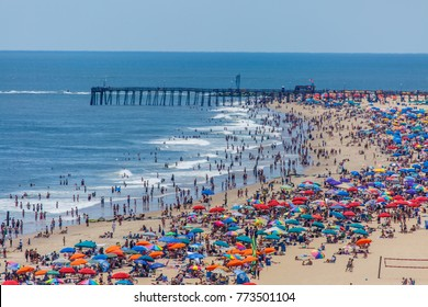 Crowded beach in Ocean City, MD