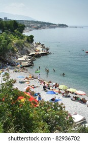 Crowded beach in Senj, Croatia