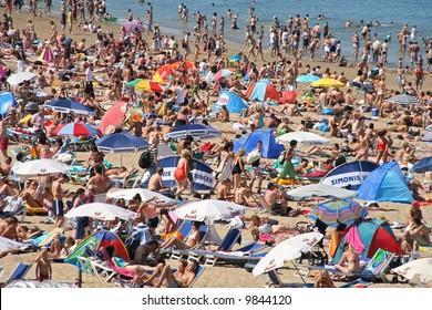 Crowded beach in summer