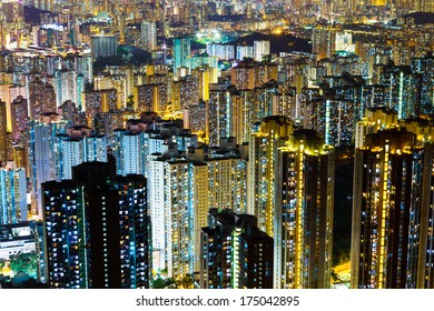 Crowded building in Hong Kong