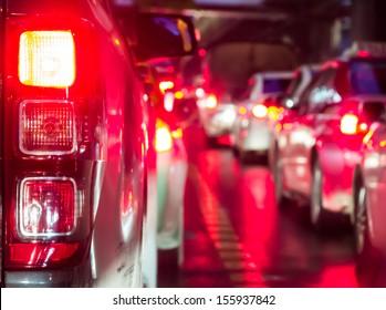 Crowded car in the bad traffic night in Bangkok