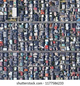 Crowded City Aerial View ( Birds Eye View ) population density