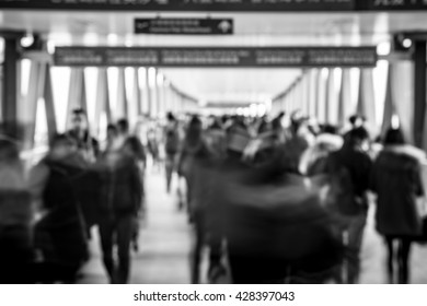 Crowded City People Background - black and white tone