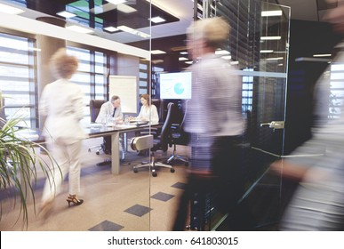 Crowded conference room on the busy day