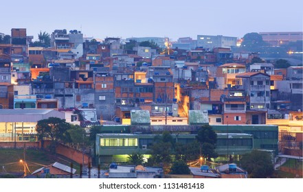 Crowded Favelas in Sao Paulo, Brazil in night time