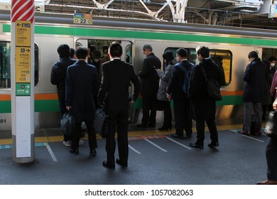 The crowded, packed, and scrambled life at Japanese train stration. Taken in Tokyo, February 2018.