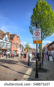 Crowded people at pedestrian zone in Stratford Upon Avon , England, May 12  2012