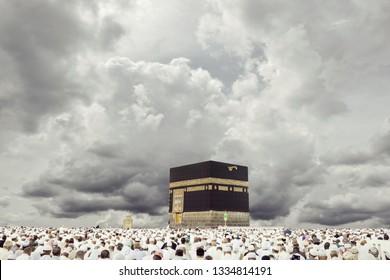 Crowded people praying