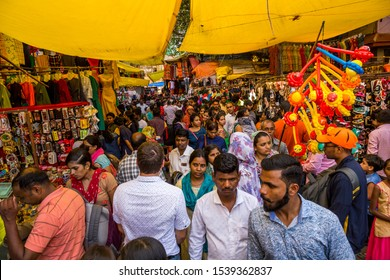 Crowded Pune central market, Maharashtra India, October 2019