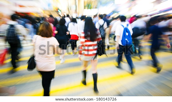 Crowded Scene in Downtown Hong Kong