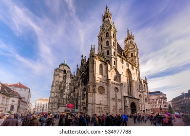 crowded Stephansplatz Vienna Austria in December 2016 when thousands of tourist arrive for the famous christmas markets in Vienna and sightseeing