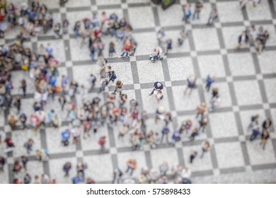 crowded street from above