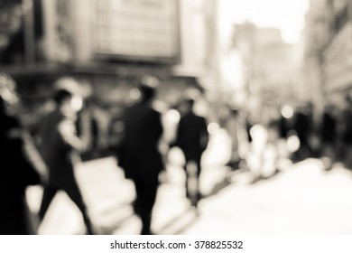Crowded street in Japan, blurred background - vintage filter effect