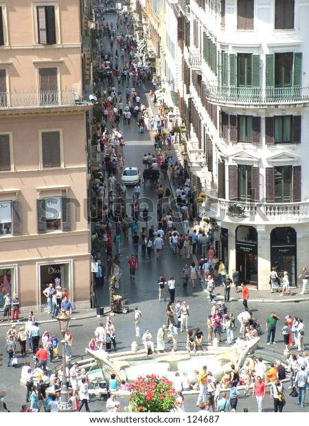Crowded street in Rome, Italy
