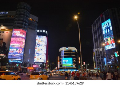 Crowded street view at Ximending night market on May 6, 2018 in Taipei, Taiwan.