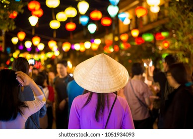 Crowded of tourists are traveling at Hoi An night street market , Vietnam.