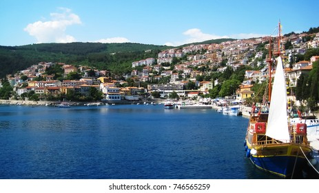 Crowded town on hill in mediterranean coast in Croatia