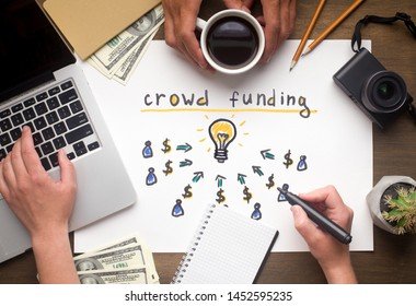 Crowdfunding concept. Two people deciding to find business idea for investment, panorama
