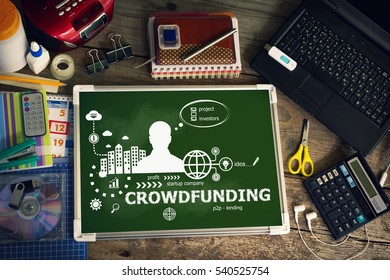 Crowdfunding design concept for business, consulting, finance, management. Printed materials.