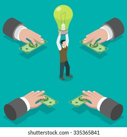 Crowdfunding flat isometric concept. Hands give money to man taking a bulb over his head.  Investing into idea.