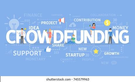 Crowdfunding illustartion concept. Idea of sharing and donating money.