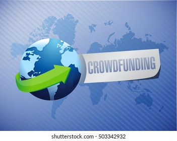 crowdfunding world map sign concept illustration design graphic