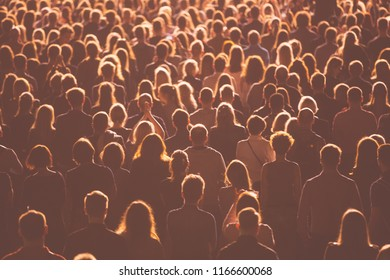 Crowds of anonymous people during a concert