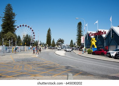 Crowds, Cicerello's and ferris wheel in Fremantle,Western Australia/Fremantle Lifestyle/FREMANTLE,WA,AUSTRALIA-NOVEMBER 13,2016: Crowds, Cicerello's and ferris wheel in Fremantle,Western Australia