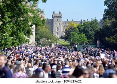Crowds Gather at Long Walk Windsor UK for the Wedding of Harry and Meghan May 19th 2018