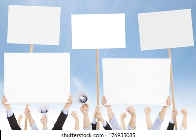 Crowds of people protested against social or political issue