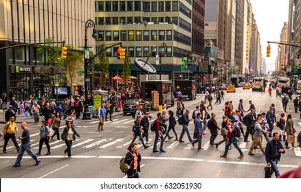 Crowds in the street of New York USA Manhatten 21.09.2016