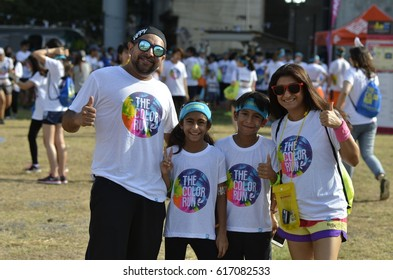 Crowds of unidentified people at The Color Run on April 1, 2017 in Bangkok,Thailand. The Color Run is a worldwide hosted fun race in Bangkok.