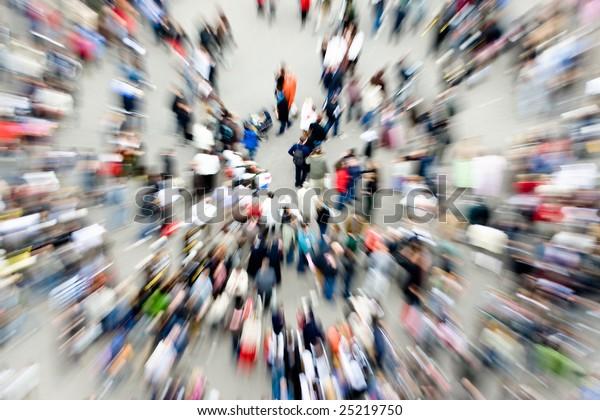 Crowds in an urban setting