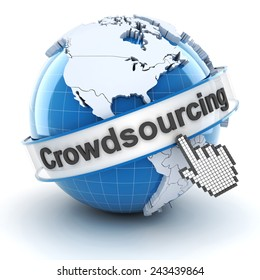 Crowdsourcing symbol with globe and cursor, 3d render, white background