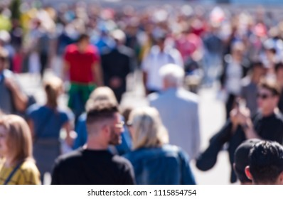 Crowed of People at the City as blurred background people in bokeh