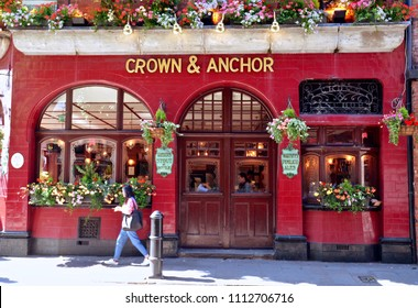 Crown and Anchor Pub, traditional British Pub in Neal Street London city centre, London, England UK. jUNE 2018