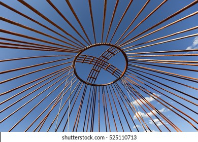 Crown of the dome of a nomadic yurt known as Shangyrak under cosntruction, in Kazakhstan.