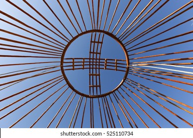 Crown of the dome of a nomadic yurt known as Shangyrak.