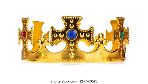 crown of king royal golden isolated on a white background