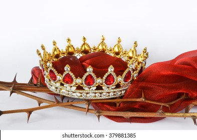 King´s Crown on thorns with red cloth/Victory/Cross of Jesus