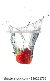 Crown splash of a strawberry on a white background