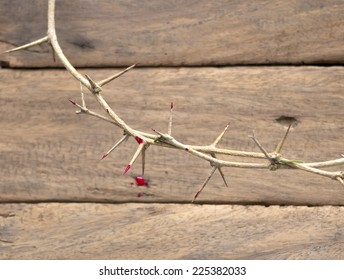 Crown of thorns with blood on a old wooden background.