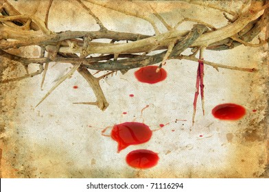 Crown of Thorns and drops of blood on grunge background.