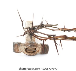 Crown of thorns and hammer on white background. Easter attributes