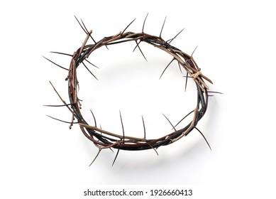 Dornenkrone einzeln auf weißem Hintergrund. Draufsicht. Kopiert Platz. Christian Osterkonzept. Kreuzigung Jesu Christi. Er stand auf und lebte. Jesus ist der Grund. Evangelium, Errettung.