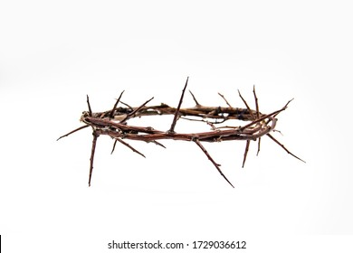 A crown of thorns on a white background. Conceptual phototo use in the design. A wreath of branches with thorns  - Shutterstock ID 1729036612