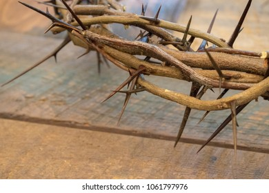 Crown of Thorns on Wood Communion Table