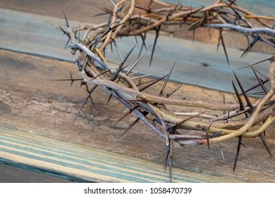 Crown of Thorns on Wood Table