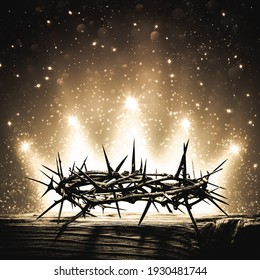 Crown Of Thorns On Wooden Cross With Bright Sparkling Crown Of Light In Background - The Death And Victory Of Jesus Christ