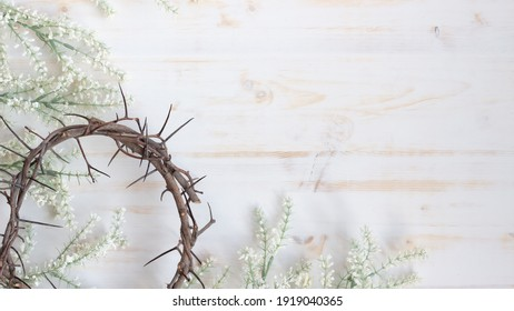 crown of thorns and white flowers border - Shutterstock ID 1919040365